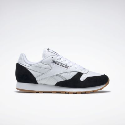 Reebok Classic Leather herensneaker zwart en wit